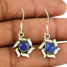 Royal Color! 925 Sterling Silver Blue Sapphire Earrings Manufacturer India