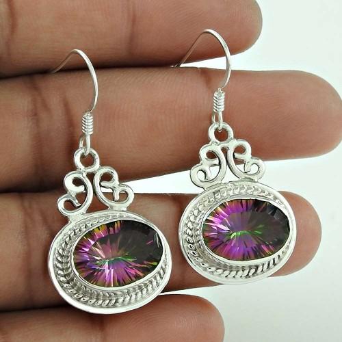 Daily Wear 925 Sterling Silver Mystic Topaz Gemstone Earring Jewellery
