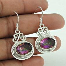 Rare 925 Sterling Silver Mystic Topaz Gemstone Earring Ethnic Jewellery