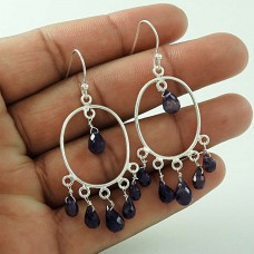 Precious! 925 Sterling Silver Iolite Earrings Wholesale