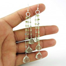 Very Delicate! 925 Sterling Silver Green Amethyst Earrings Supplier