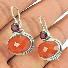 925 Sterling Silver Jewellery Charming Carnelian,Garnet Gemstone Earrings