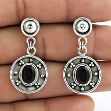 925 Sterling Silver Fashion Jewellery Artisan Garnet Gemstone Earrings