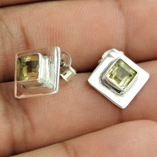 925 Silver Jewellery Beautiful Citrine Gemstone Earrings Wholesaler