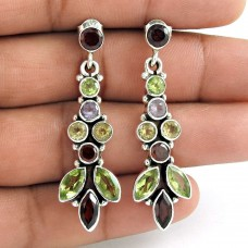 925 Sterling Silver Gemstone Jewellery Trendy Garnet, Peridot, Citrine, Amethyst Gemstone Earrings
