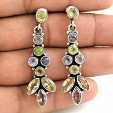 Indian Sterling Silver Jewellery Charming Amethyst, Citrine, Peridot Gemstone Earrings