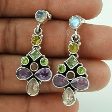 Stylish! 925 Sterling Silver Amethyst, Citrine, Garnet, RMS Earrings Grossiste