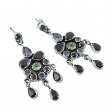 New Faceted! 925 Sterling Silver Amethyst, Garnet, Peridot Earrings Fournisseur