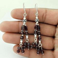 Large Fashion! Sterling Silver Garnet Earrings
