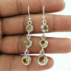 Stylish 925 Sterling Silver Citrine Gemstone Earring Jewellery Wholesaler India