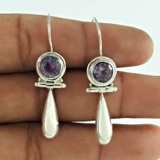 Sterling Silver Fashion Jewellery High Polish Amethyst Gemstone Earrings