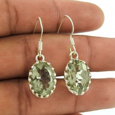 Classic 925 Sterling Silver Green Amethyst Gemstone Earring Jewellery