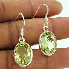 Indian Sterling Silver Jewellery Fashion Lemon Quartz Gemstone Earrings