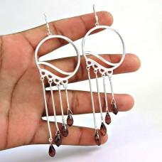 Royal! 925 Sterling Silver Garnet Earrings Supplier India