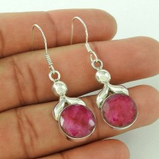 925 Sterling Silver Jewellery Traditional Ruby Gemstone Earrings