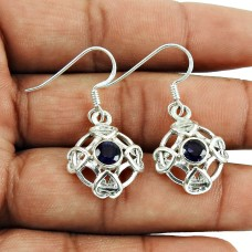 925 Sterling Silver Vintage Jewellery Beautiful Iolite Gemstone Earrings