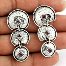 Rare Amethyst Gemstone Earrings Indian Sterling Silver Jewellery
