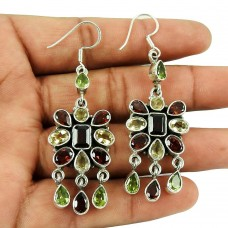 Daily Wear Garnet, Citrine, Peridot Gemstone Earrings 925 Sterling Silver Jewellery