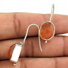 925 Sterling Silver Antique Jewellery Traditional Carnelian Gemstone Earrings
