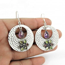 Daily Wear Amethyst, Garnet, Citrine, Peridot Gemstone Earrings 925 Sterling Silver Jewellery