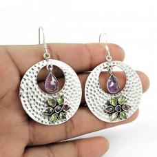 Daily Wear Amethyst, Garnet, Citrine, Peridot Gemstone Earrings 925 Sterling Silver Jewellery