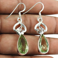 Rare Green Amethyst Gemstone Earrings 925 Sterling Silver Fashion Jewellery