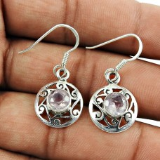 Sterling Silver Indian Jewellery High Polish Rose Quartz Gemstone Earrings