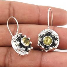Trendy Citrine Gemstone Earrings 925 Silver Jewellery
