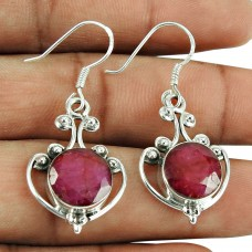 Fashion Ruby Gemstone Earrings 925 Silver Jewellery