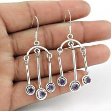 Designer Amethyst Gemstone Earrings Indian Sterling Silver Jewellery