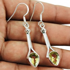 Daily Wear Citrine Gemstone Earrings 925 Sterling Silver Jewellery