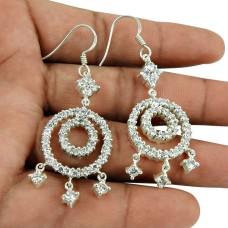 Beautiful White Quartz Earrings 925 Sterling Silver Antique Jewellery