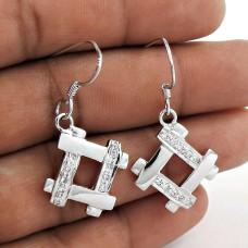 Indian Sterling Silver Jewellery Ethnic White C.Z Gemstone Earrings