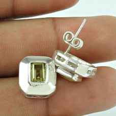 925 Sterling Silver Fashion Jewellery Trendy Lemon Quartz Gemstone Earrings Wholesale