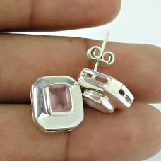 925 Sterling Silver Gemstone Jewellery Charming Rose Quartz Gemstone Earrings Supplier