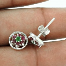 Party Wear Ruby, Emerald Gemstone Sterling Silver Stud Earrings Sterling Silver Fashion Jewellery