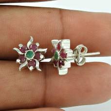 Stunning Ruby, Emerald Gemstone Sterling Silver Stud Earrings 925 Silver Jewellery