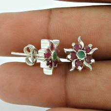 Rattling Ruby, Emerald Gemstone Sterling Silver Stud Earrings 925 Silver Jewellery
