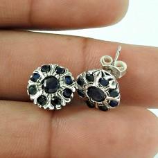 Scrumptious Blue Sapphire Gemstone Sterling Silver Stud Earrings 925 Sterling Silver Jewellery