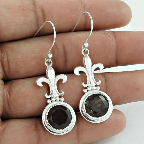 Beautiful 925 Sterling Silver Smoky Quartz Gemstone Earrings Großhandel