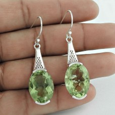 All Of Us !! Green Amethyst 925 Sterling Silver Earrings Wholesale Price