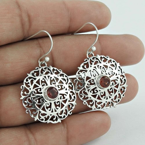 Big Secret Created!! 925 Sterling Silver Garnet Gemstone Earrings Wholesaling