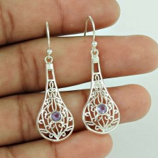 Big Secret Design!! 925 Sterling Silver Amethyst Gemstone Earrings Exporter India