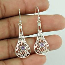 Big Secret Design!! 925 Sterling Silver Amethyst Gemstone Earrings Exporter India