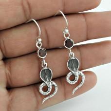 Simple!! 925 Sterling Silver Garnet Gemstone Earrings De gros