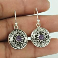 Victorian Style! 925 Sterling Silver Amethyst Gemstone Earrings Grossiste