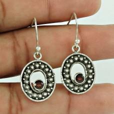 Natural! 925 Sterling Silver Garnet Gemstone Earrings Fournisseur