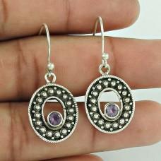 Simple! 925 Sterling Silver Amethyst Gemstone Earrings Fabricant