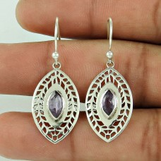 Amazing Design !! 925 Sterling Silver Amethyst Earrings Wholesaler India