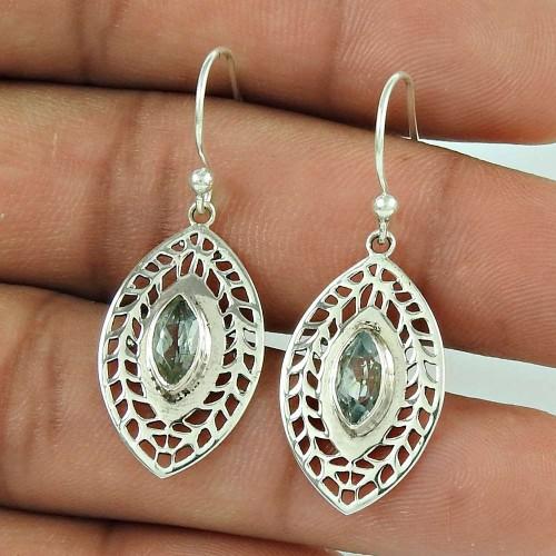 Stylish !! Blue Topaz 925 Sterling Silver Earrings Mayorista